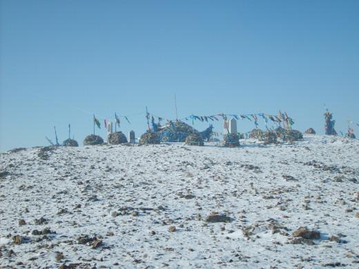 Shamanic place on mongolian sacred mountain in Ulaanbaatar
