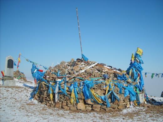 Sacred pile of stones, Mongolia
