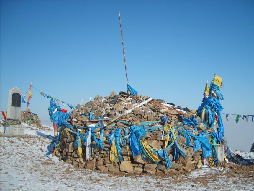 Free photo: Sacred pile of stones, Mongolia