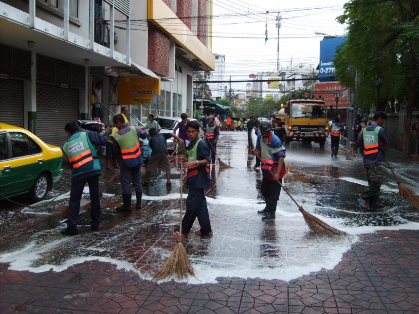 Free photo:  Photo of street cleaners in Bangkok