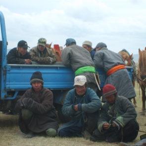Mongolians on horse racing