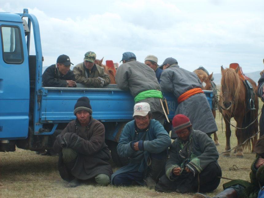 Free photo: Mongolians on horse racing