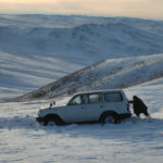 Car sunk in snow – Mongolia