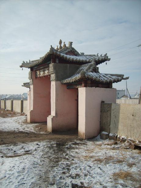 Decorated gate of Buddhist monastery in Ulaanbaatar