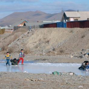 Mongolian kids on ice