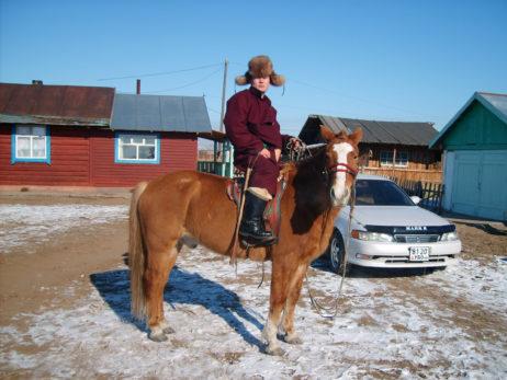 Mongolian man and horse