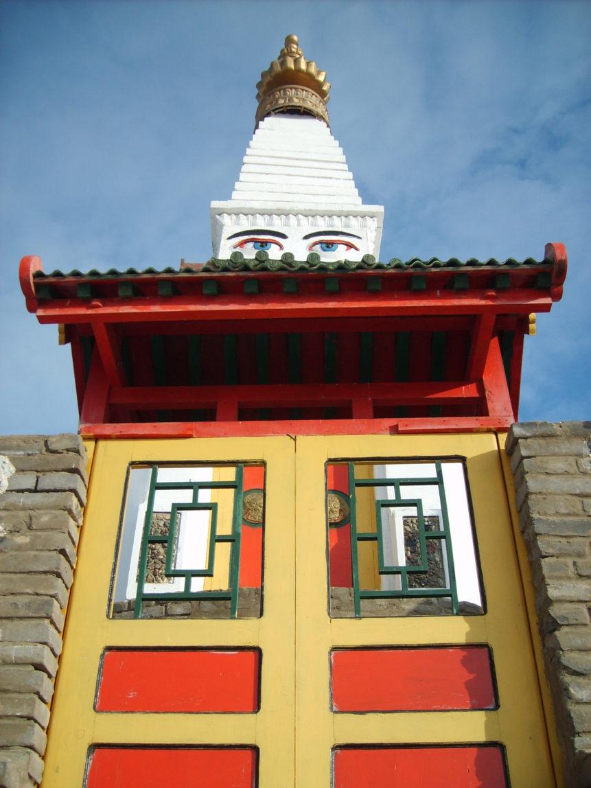 Free photo: Stupa with eyes of bodhisattva Avalokitesvara in buddhist monastery Dambadarjaalin in Ulaanbaatar, Mongolia, 2007.