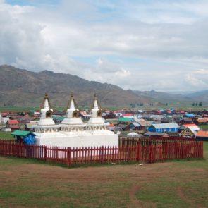 Fenced stupas in Mongolia