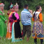 Mongolians in traditional costumes