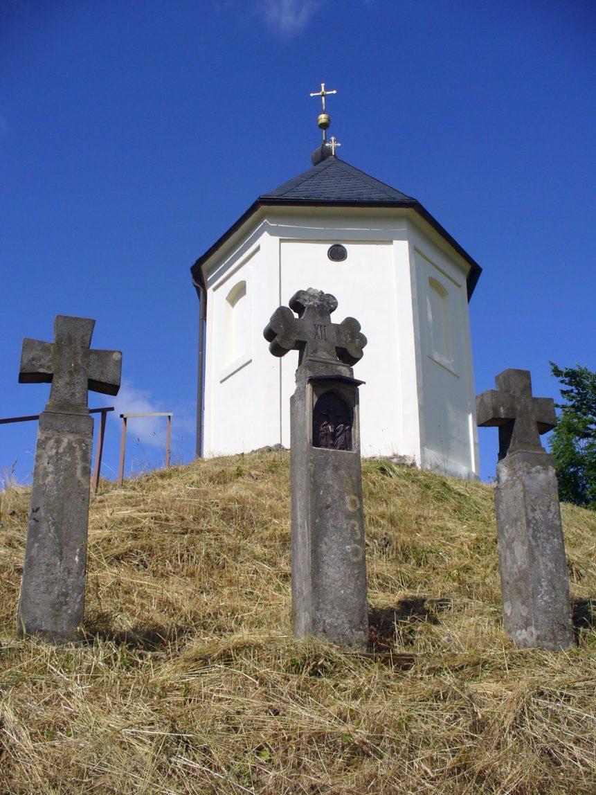 Free photo: Three Crosses and Church