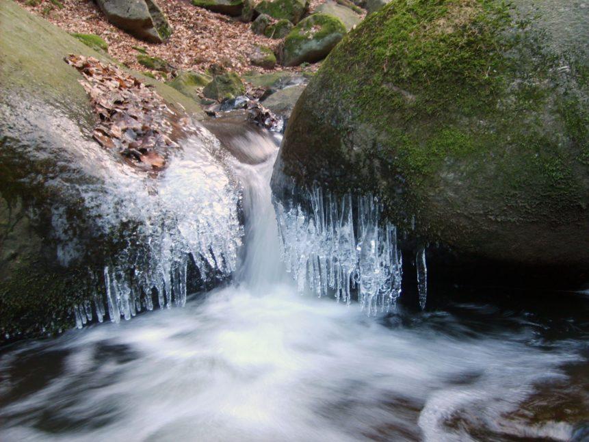 Free photo: Frozen Waterfall