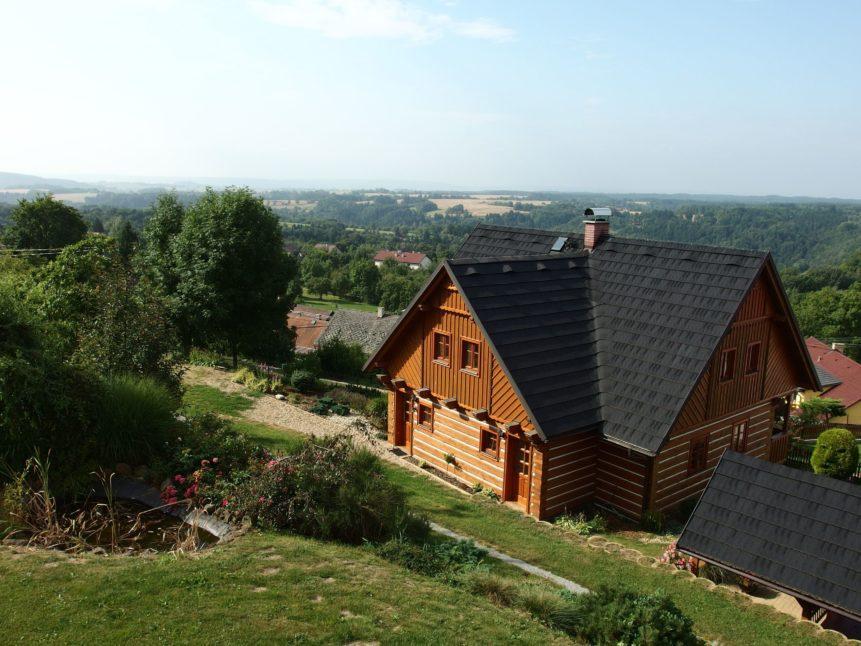 Free photo: Modern Log House