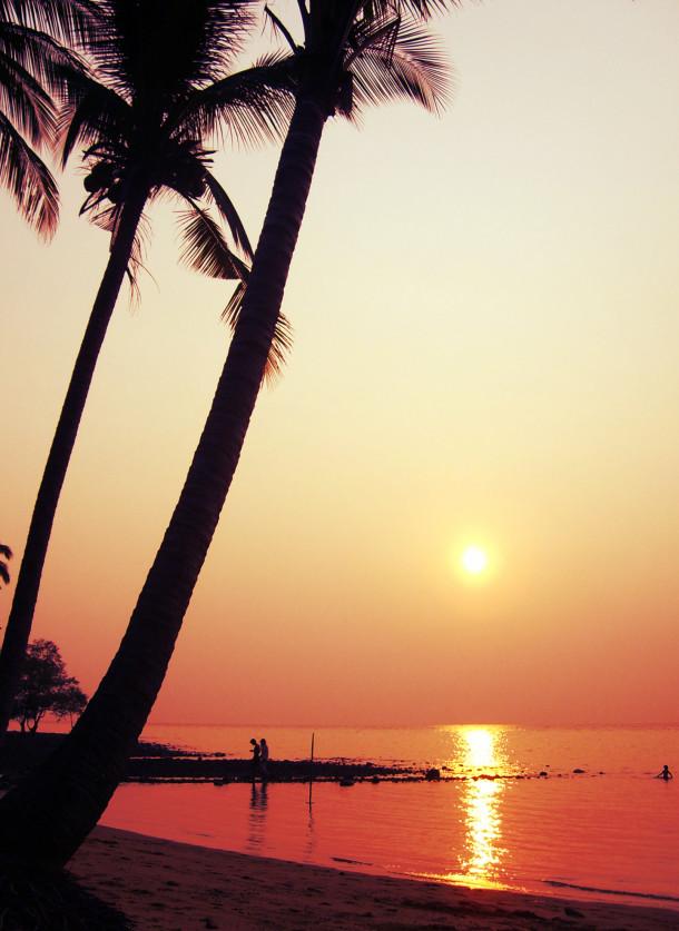 Free photo: Sunset on the beach