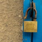 Free photo: Old door and an open padlock