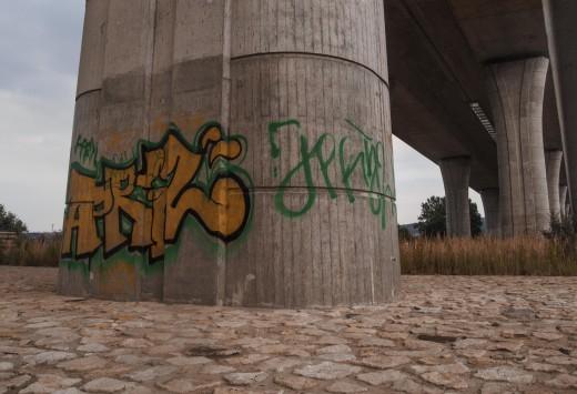Free photo: Graffiti under a bridge