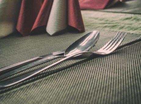 Cutlery in a restaurant