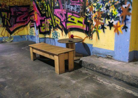 Graffiti wall in grunge room