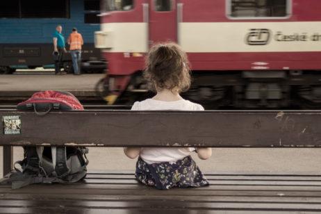 Girl at train station