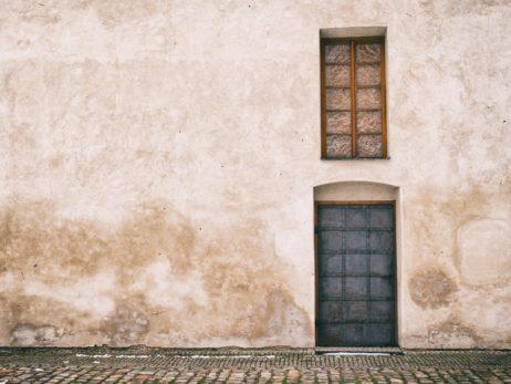 Old door and window in Prague