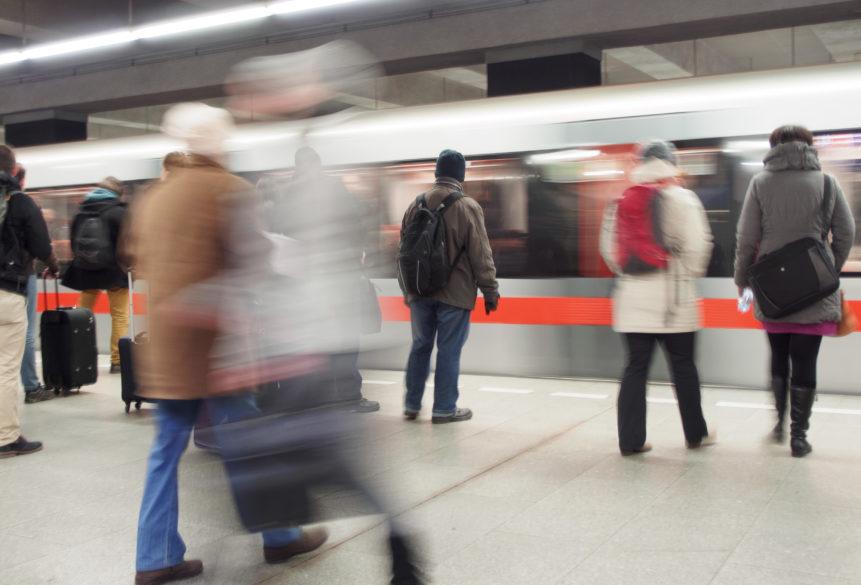 People at metro station