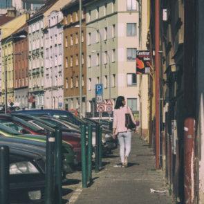 Girl on the street of Prague