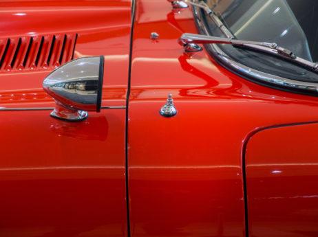 Old red veteran car Close Up