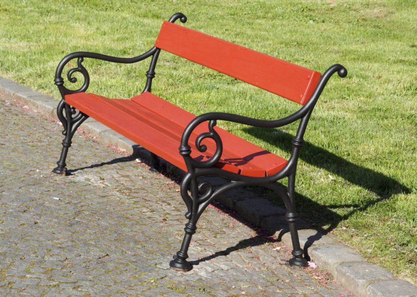 Renovated bench in Prague park.