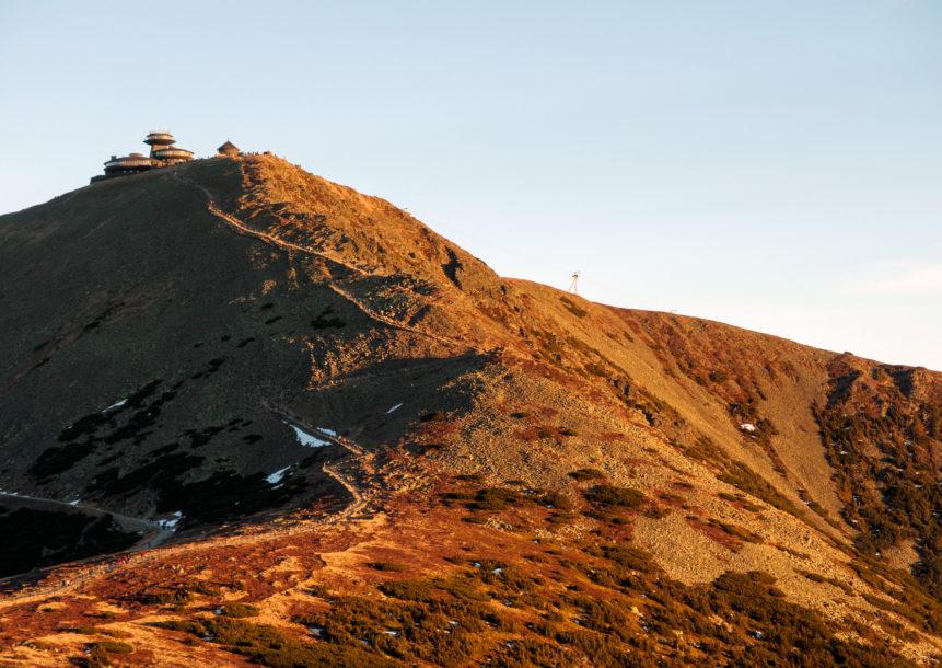 Photo of Sněžka mountain during sunset