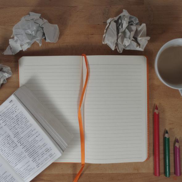 Desk of creative professional