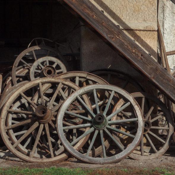 Wooden Wagon Wheels On Farm