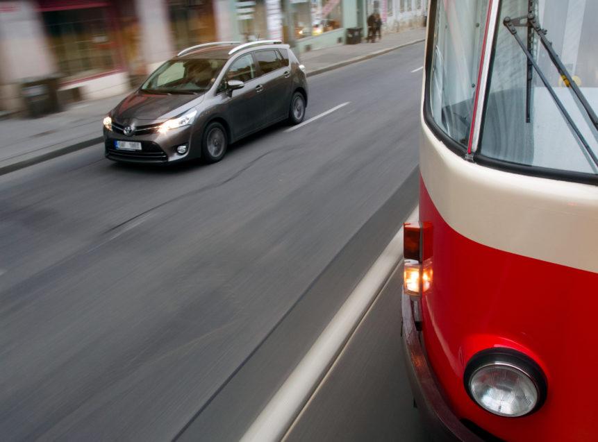 Tramway And Car In Prague