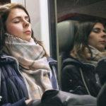 Beautiful girl sleeping in the train