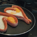 Valentine Food - Sausages In the Shape of a Heart With Eggs