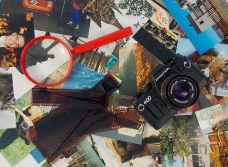 Photos, Camera, Film And Magnifier