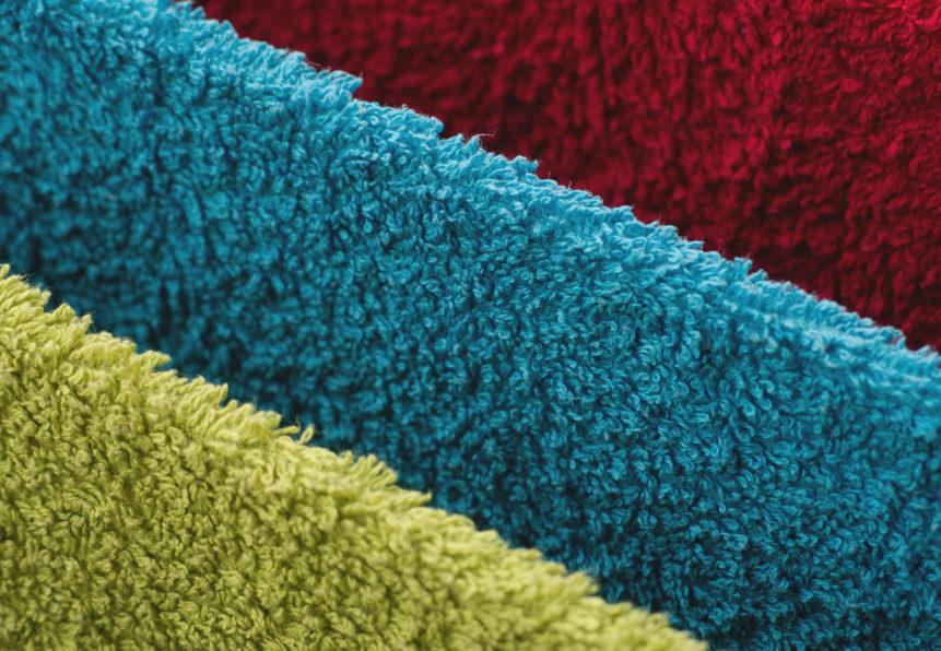 Towels of three colors