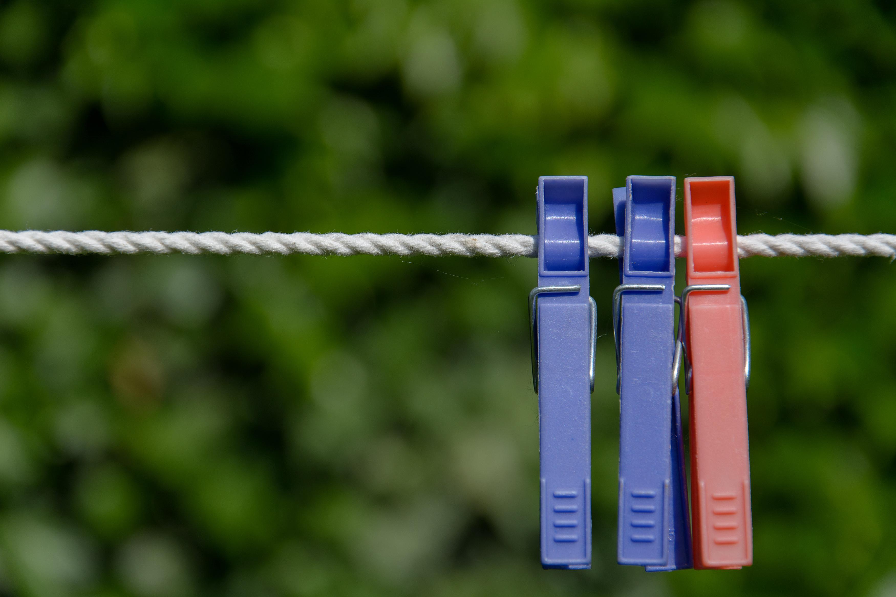 FREE IMAGE: Three Clothespins - Libreshot Public Domain Photos