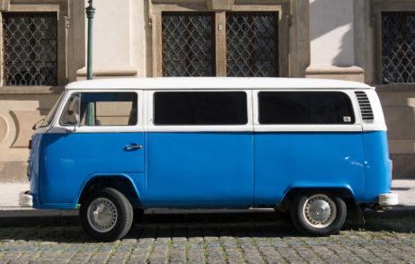 Blue Volkswagen Bus T2 Transporter