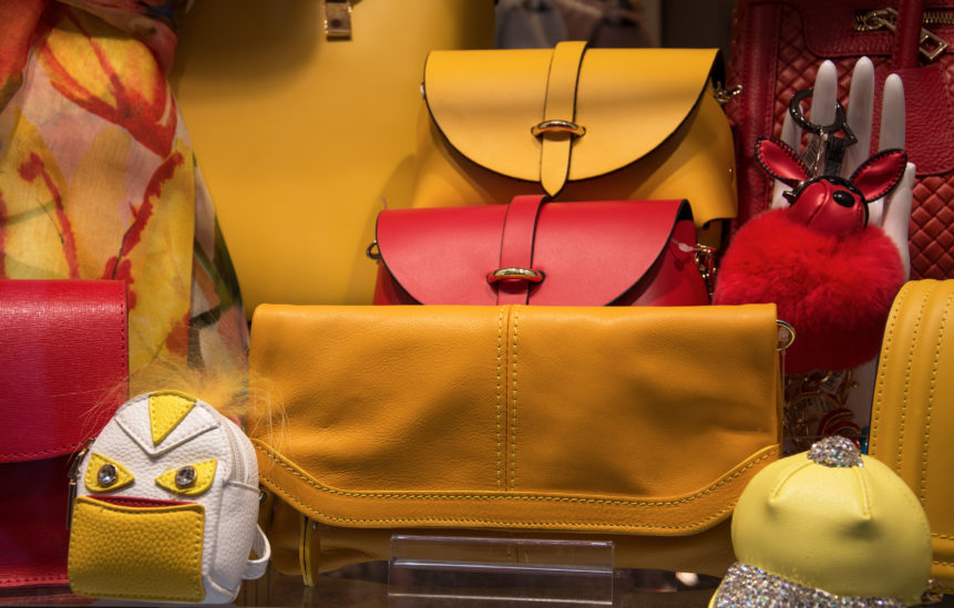 yellow leather bags