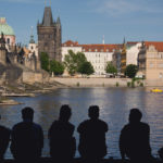 Young People Silhouettes In Prague