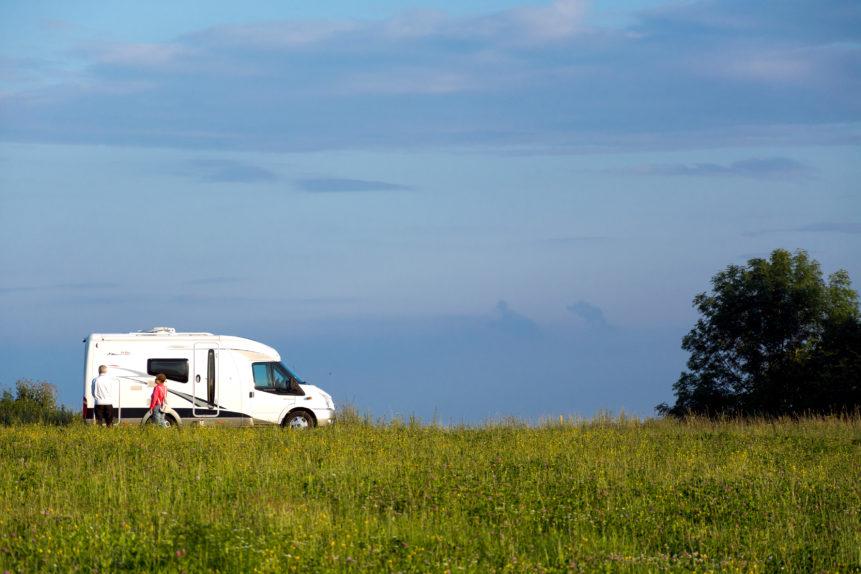 caravan on the meadow