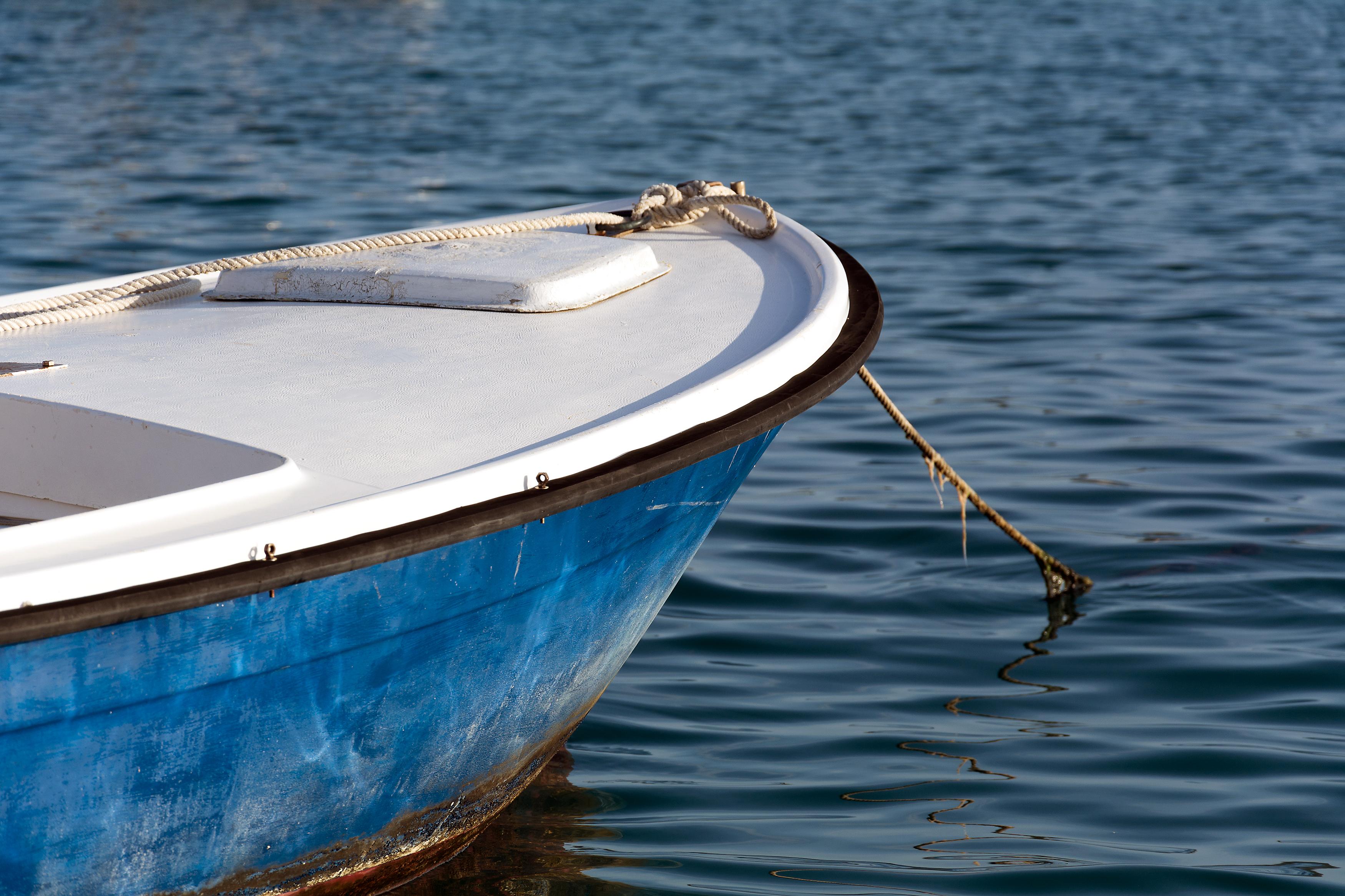 small blue sea dinghy   FREE image on LibreShot