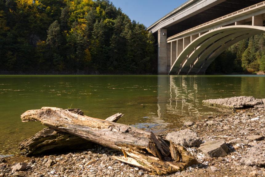 highway bridge over the lake