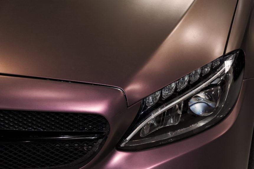 luxury pink car close up