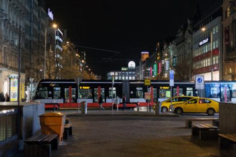 Prague Wenceslas Square at Night