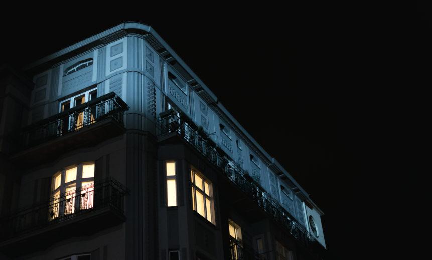 An old illuminated house