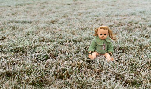 Creepy Doll Sitting in a Meadow